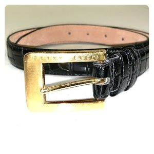 Perry Ellis Women's Black Croco Leather Belt